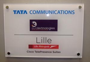 Plaque de salle TelePresence à Euratechnologies