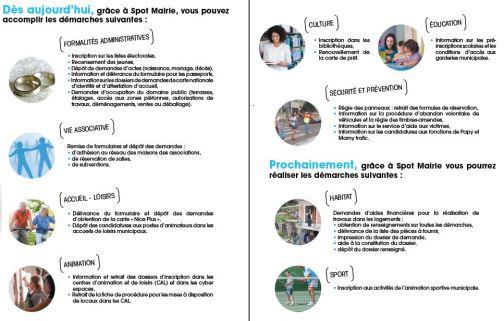 Les services proposés par SPOT Mairie(Source : Dépliant Mairie de Nice)