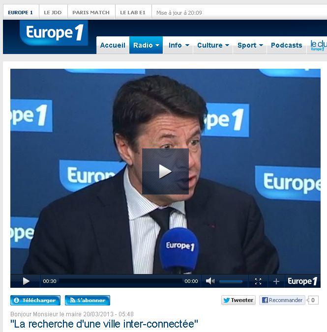"""""""Bonjour Monsieur le Maire ! """"émission d'Europe1 diffusée le 20 mars 2013"""